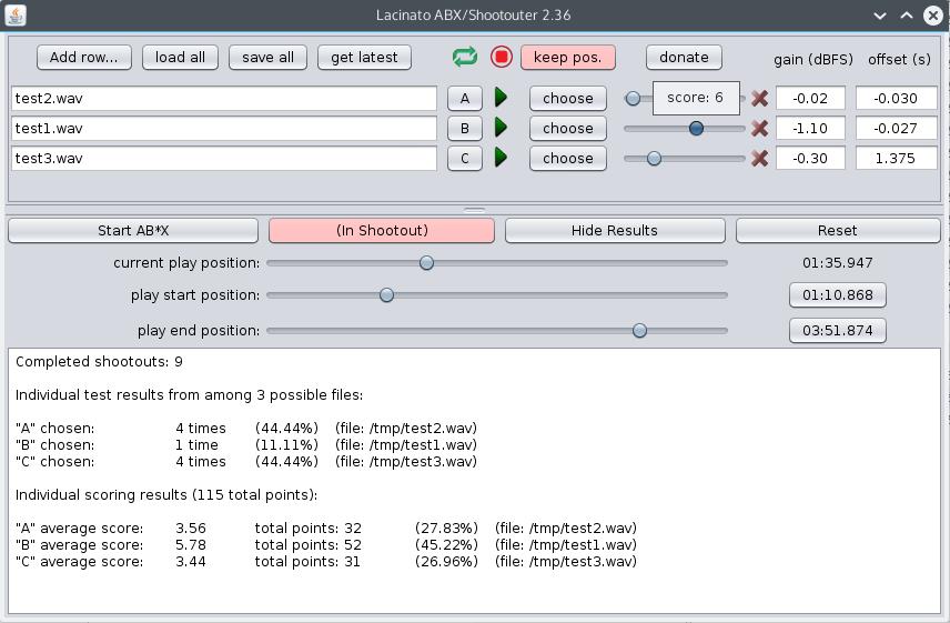 ABX/Shootout audio testing tool